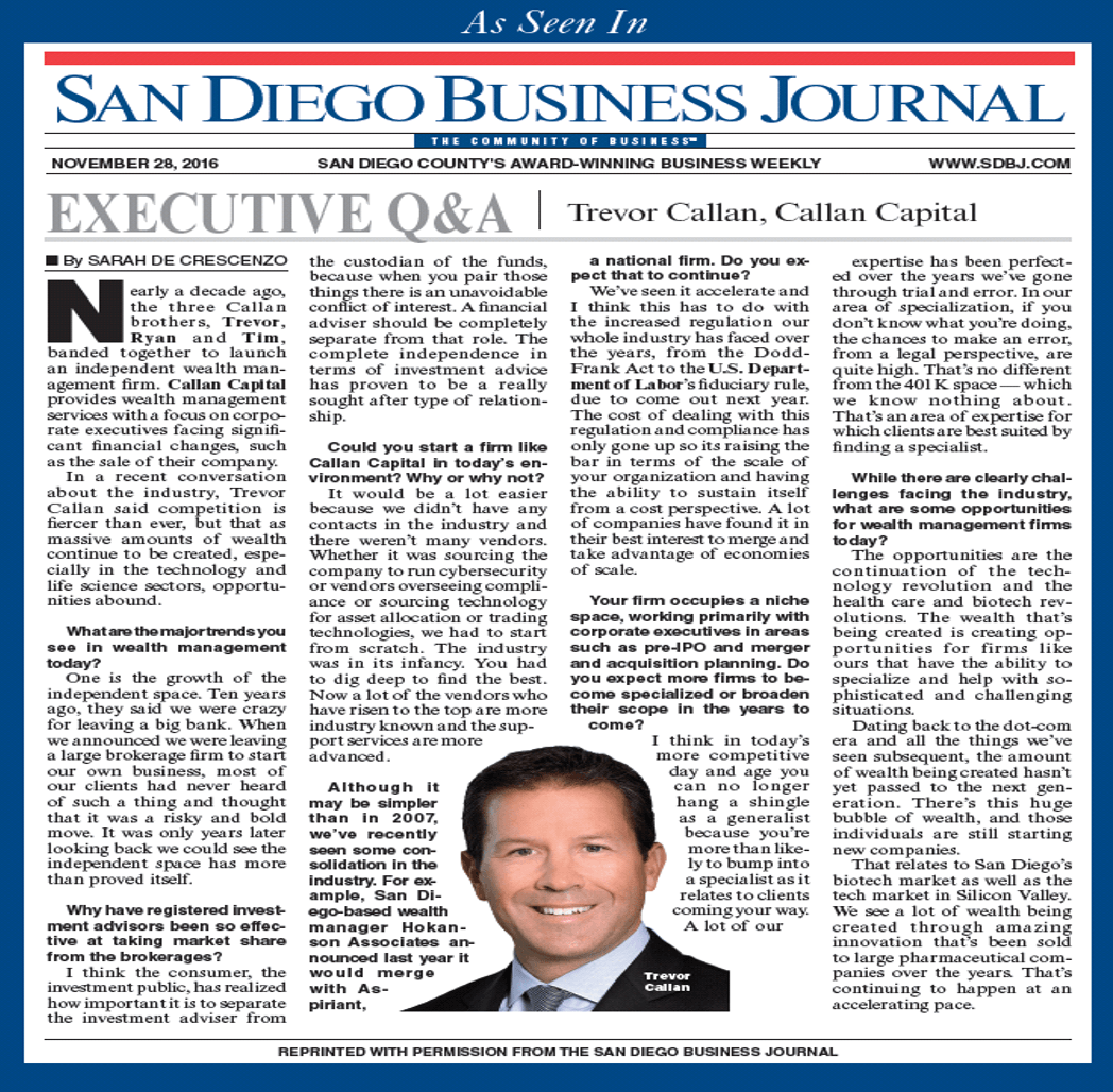 San Diego Business Journal Executive Interview with Trevor Callan